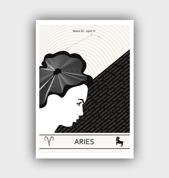 Aries zodiac art black and white prints aries by gallinidesign