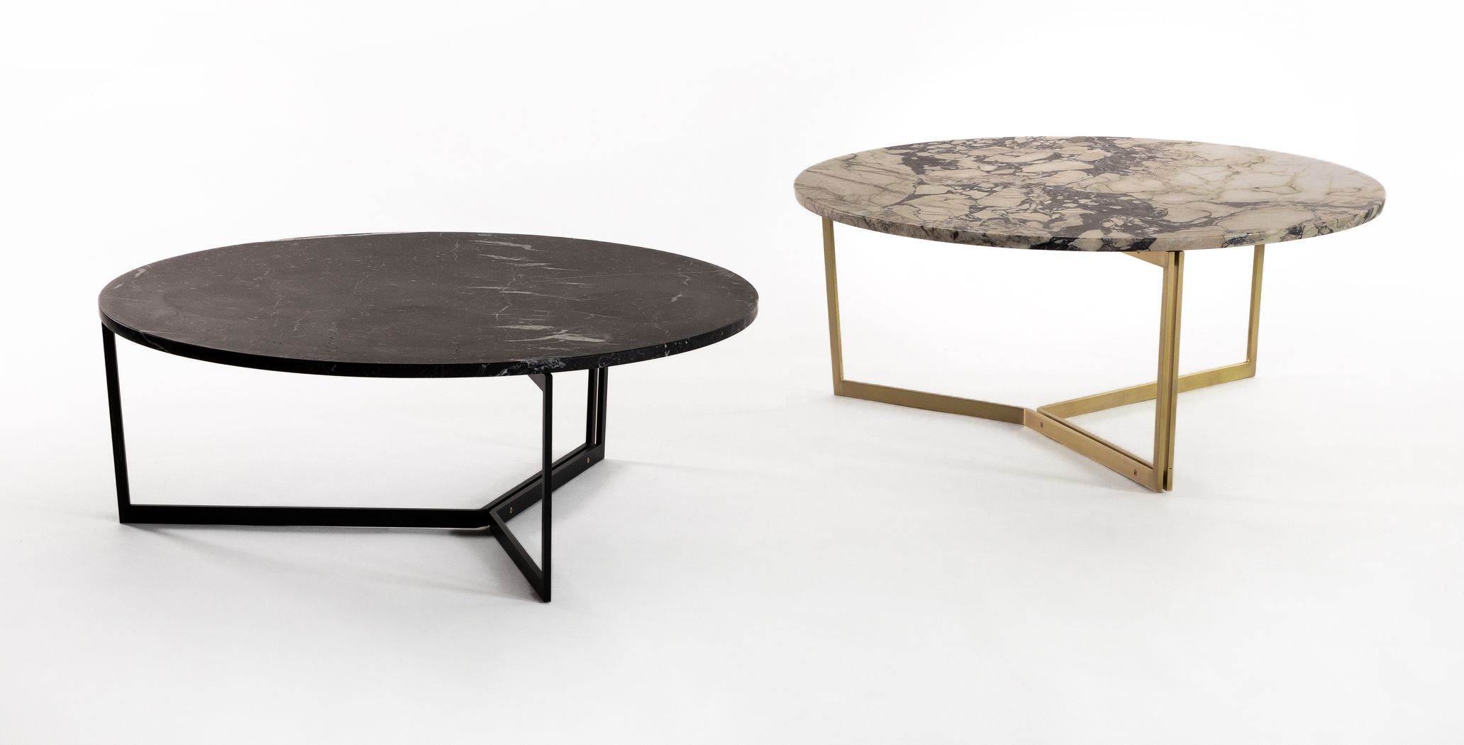 The At14 Coffee Table With Sleek Steel Base Available In A Variety Of Tops Including Marble And Solid Hard Coffee Table System Furniture Minimalist Furniture [ jpg ]