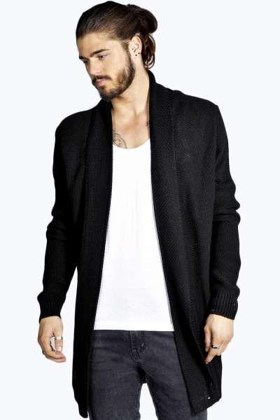 Longline Textured Cardigan at boohoo.com | Men's Fashion ...