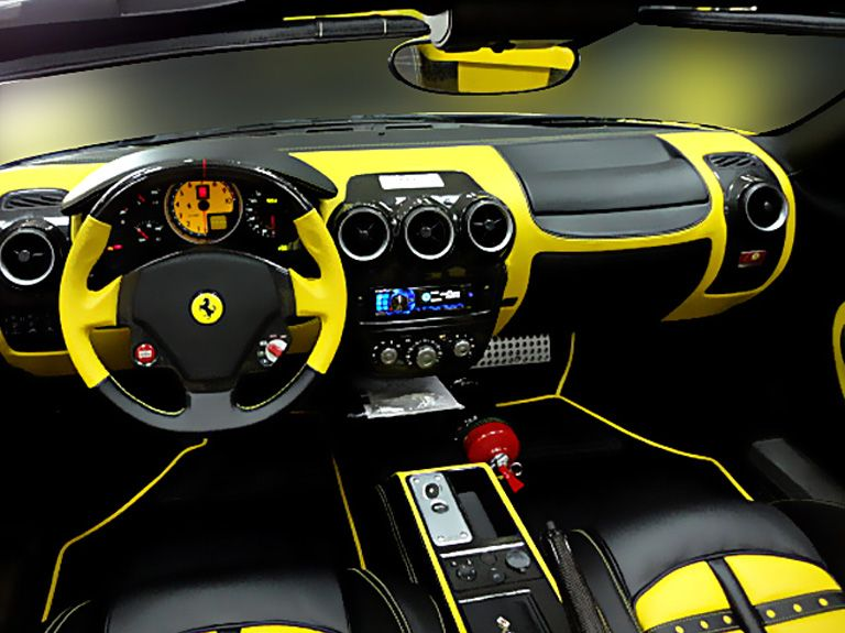 ferrari f430 black and yellow interior spectrum car design auto addiction interiors. Black Bedroom Furniture Sets. Home Design Ideas