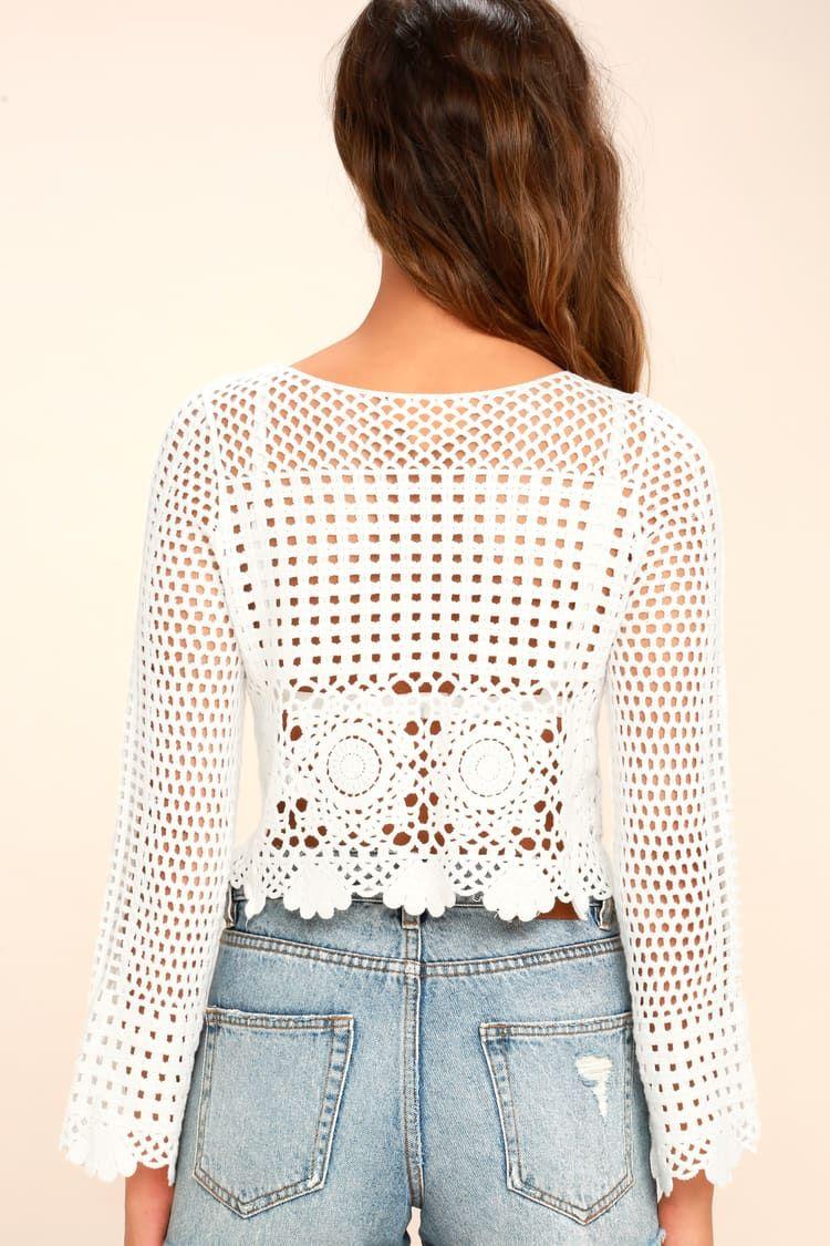 a748fa557f6f8c Crystal Grid White Crochet Long Sleeve Crop Top