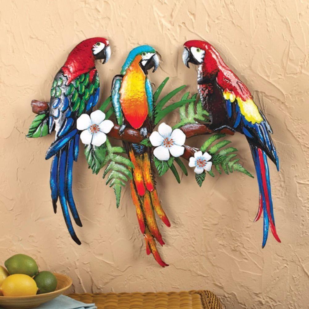 Tropical paradise island birds macaw parrots metal wall art