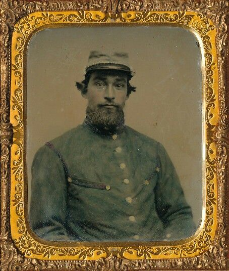 Sixth plate ruby ambrotype of this early war reb or he could - what is presumed