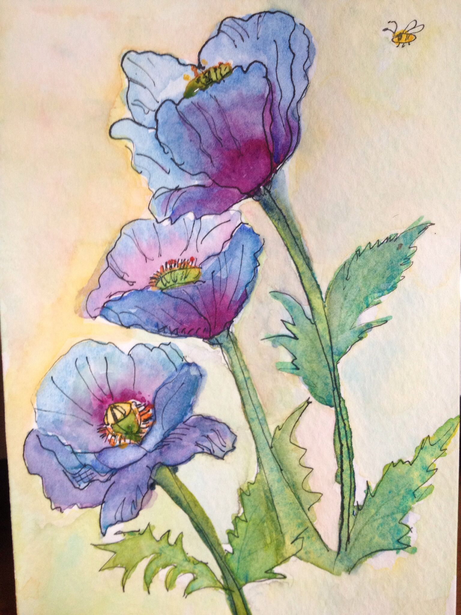 Blue Poppy Watercolor Paintings