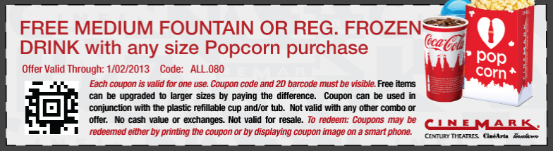 Free Medium Drink With Your Popcorn At Cinemark Century Movie Theaters Coupon Via The Coupons App Printable Coupons Free Printable Coupons Coupons