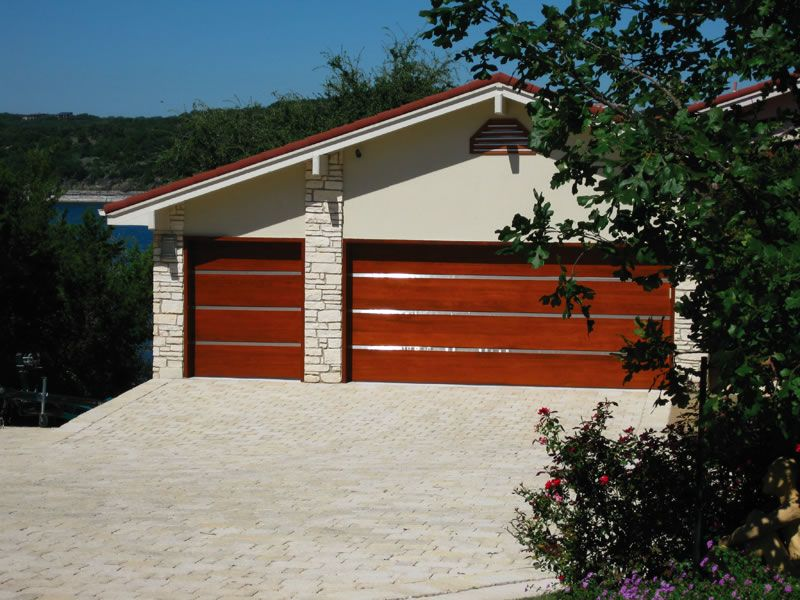 Hill Country Doors Contemporary Wood With Stainless Steel Inlays