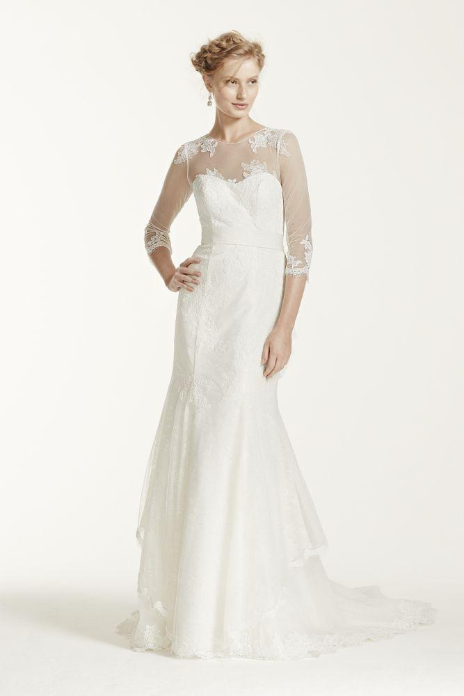 Lace Melissa Sweet Wedding Dress with Illusion Sleeves - Ivory, 6 ...