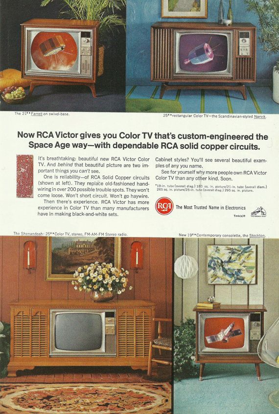 Space Age Rca Victor Televisions Original 1966 By Vintageadarama 9 99 Rca Color Television Vintage Television