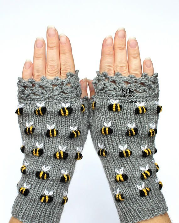 Gloves With Bees, Gray Hand Knitted Fingerless Gloves, Polka Dot Pattern With Bee, Embroidery, For Her, Gift For Woman, Christmas gift