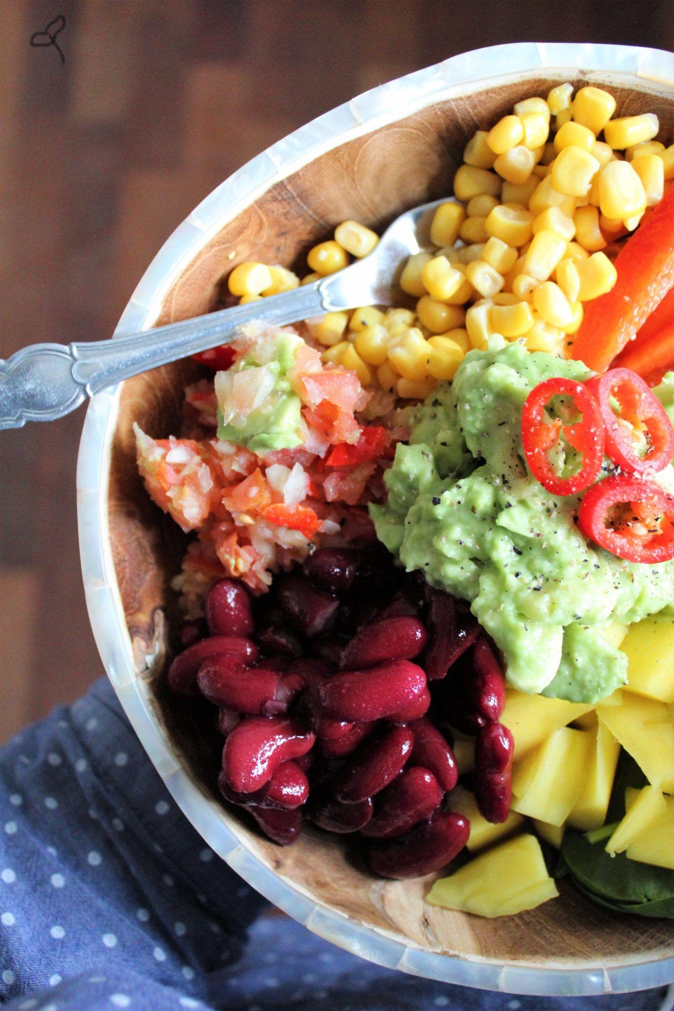 Mexi bowl med nem salsa, guacamole og kidneybønner