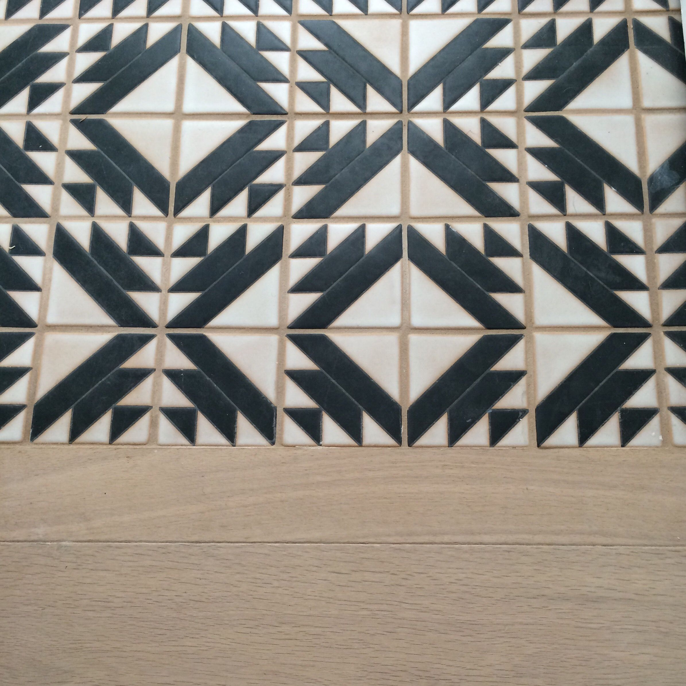 Native Tile in the powder room. Handpainted Terra Cotta from LA ...