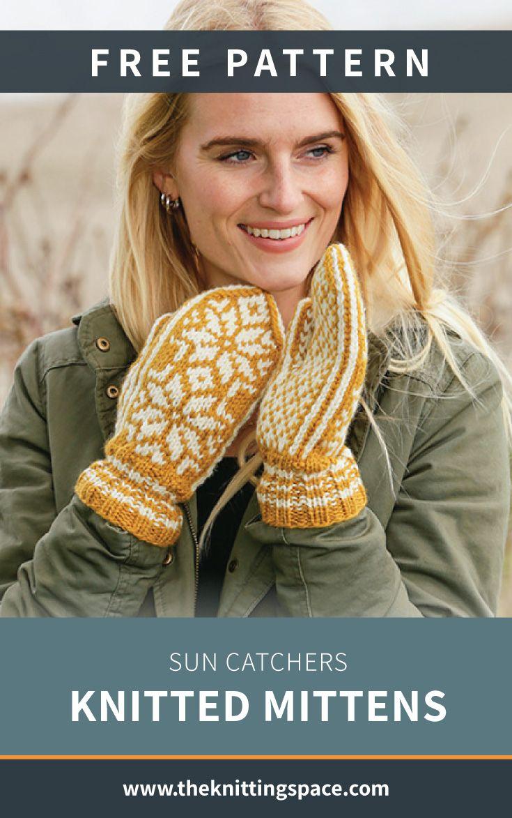 Sun Catchers Knitted Mittens [FREE Knitting Pattern]