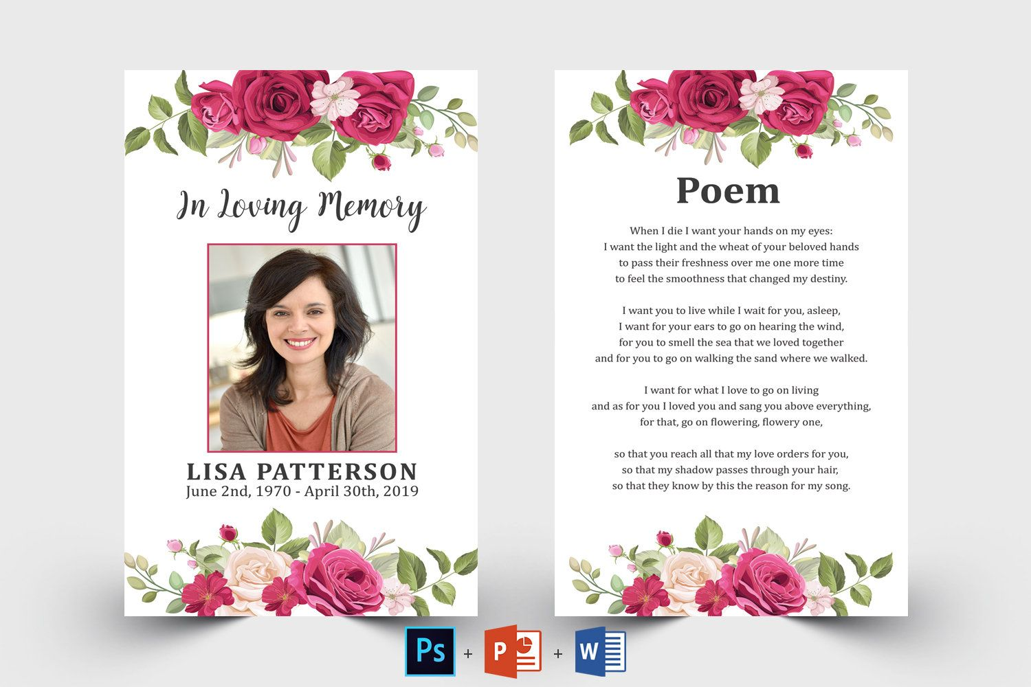 Rose Floral Editable Funeral Prayer Card Template Printable Etsy Funeral Prayers Prayer Cards For Funeral Card Templates Printable In loving memory cards template