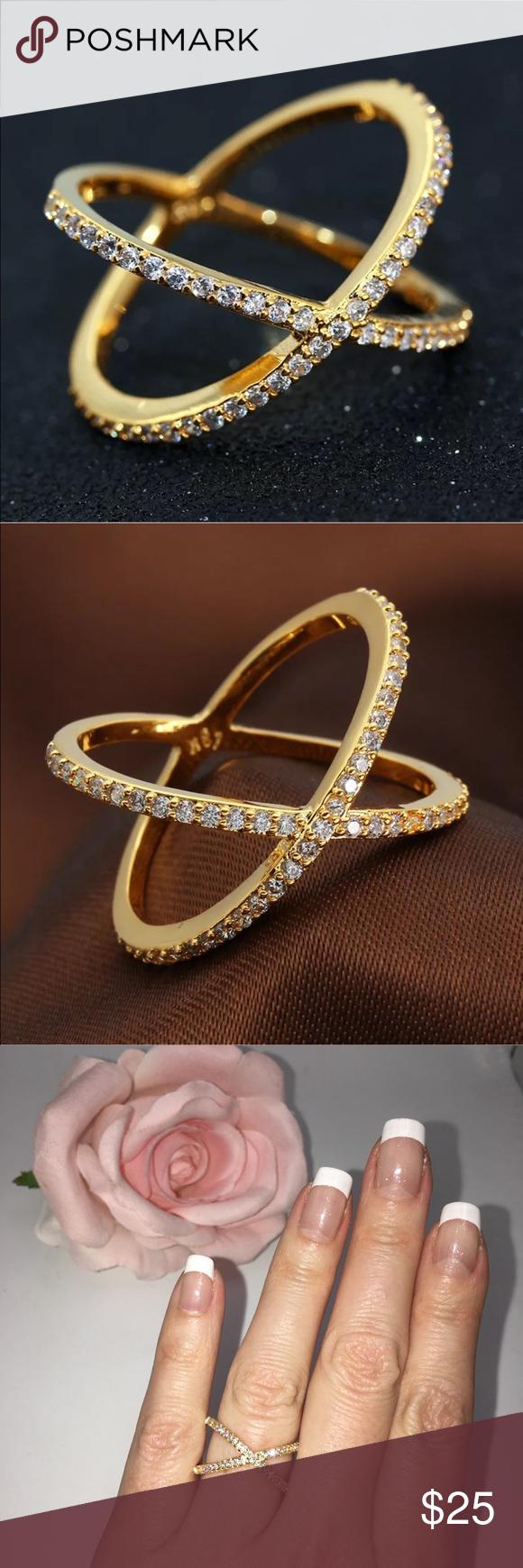 14k yellow Gold X ring criss cross diamond NWT