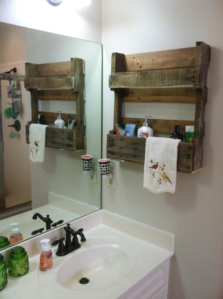 A friend gave me a half pallet and i attached it to the for Pallet bathroom ideas