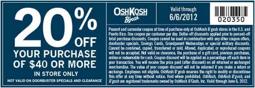 graphic about Oshkosh Printable Coupon called 20% off order at Osh Kosh! #coupon CheckPoints Offers