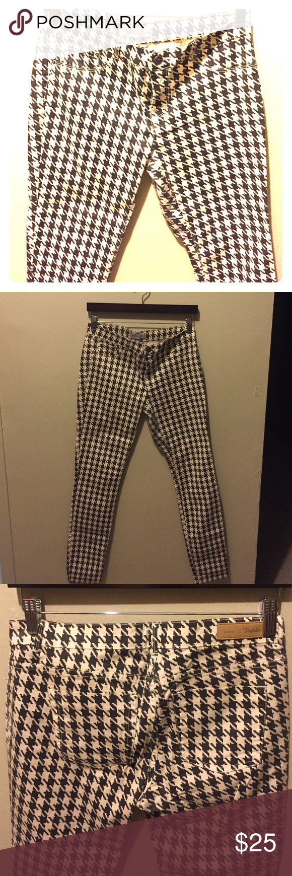 ZARA houndstooth pants Classic houndstooth pattern, with a Black and off white color Zara Pants Leggings