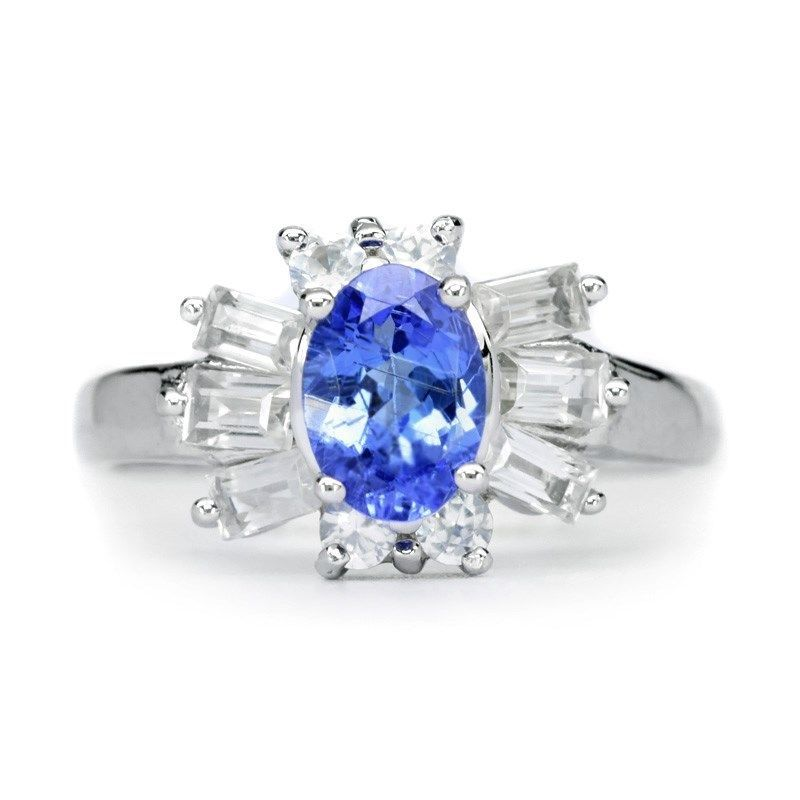 EXQUISITE 7x5mm Natural Blue Tanzanite Ring With White Zircon in 925 Silver #Multajewelry #SolitairewithAccents