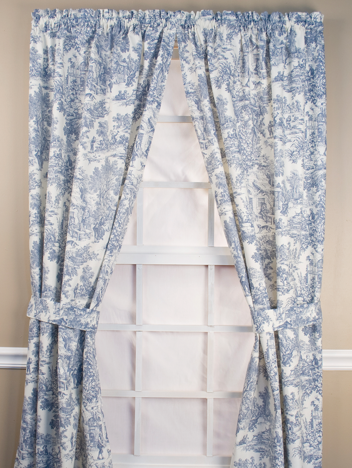 French Toile Rod Pocket Window Curtain Panels Pair With Images