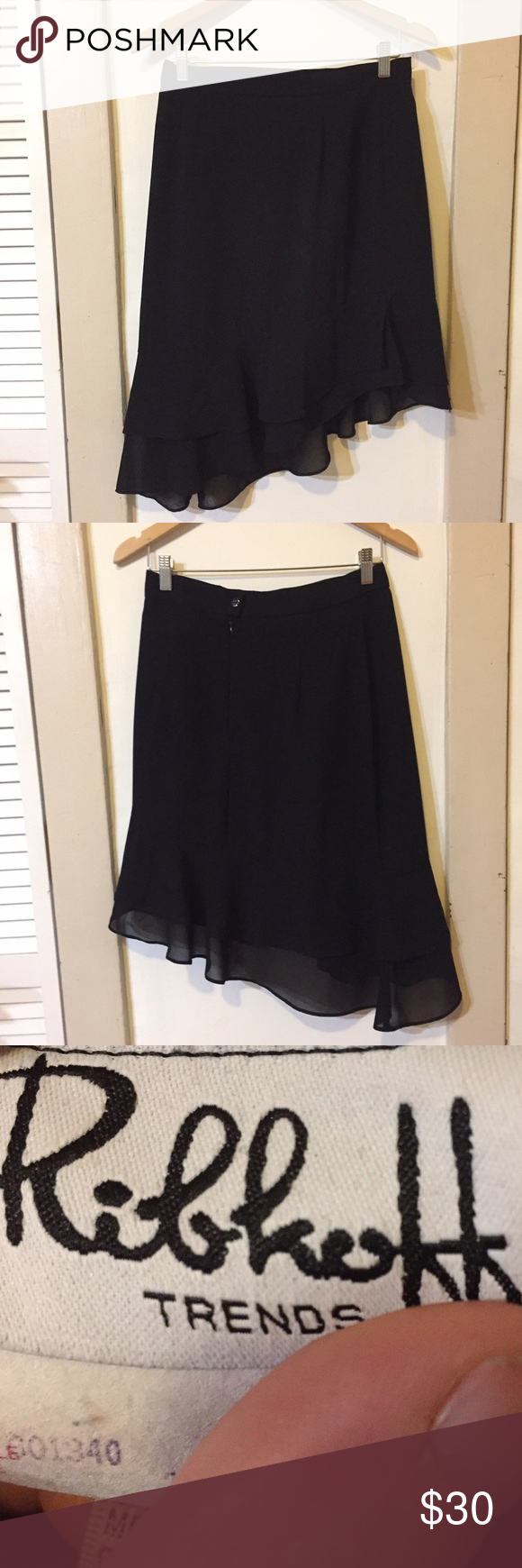 🆑 Ribkoff vintage black asymmetrical skirt FINAL PRICE! Vintage flouncy black asymmetrical skirt from Ribkoff Trends with gauzy double layer & ruffled hem. Fastens with back zip & button, perfect EUC. Ribkoff Skirts Asymmetrical