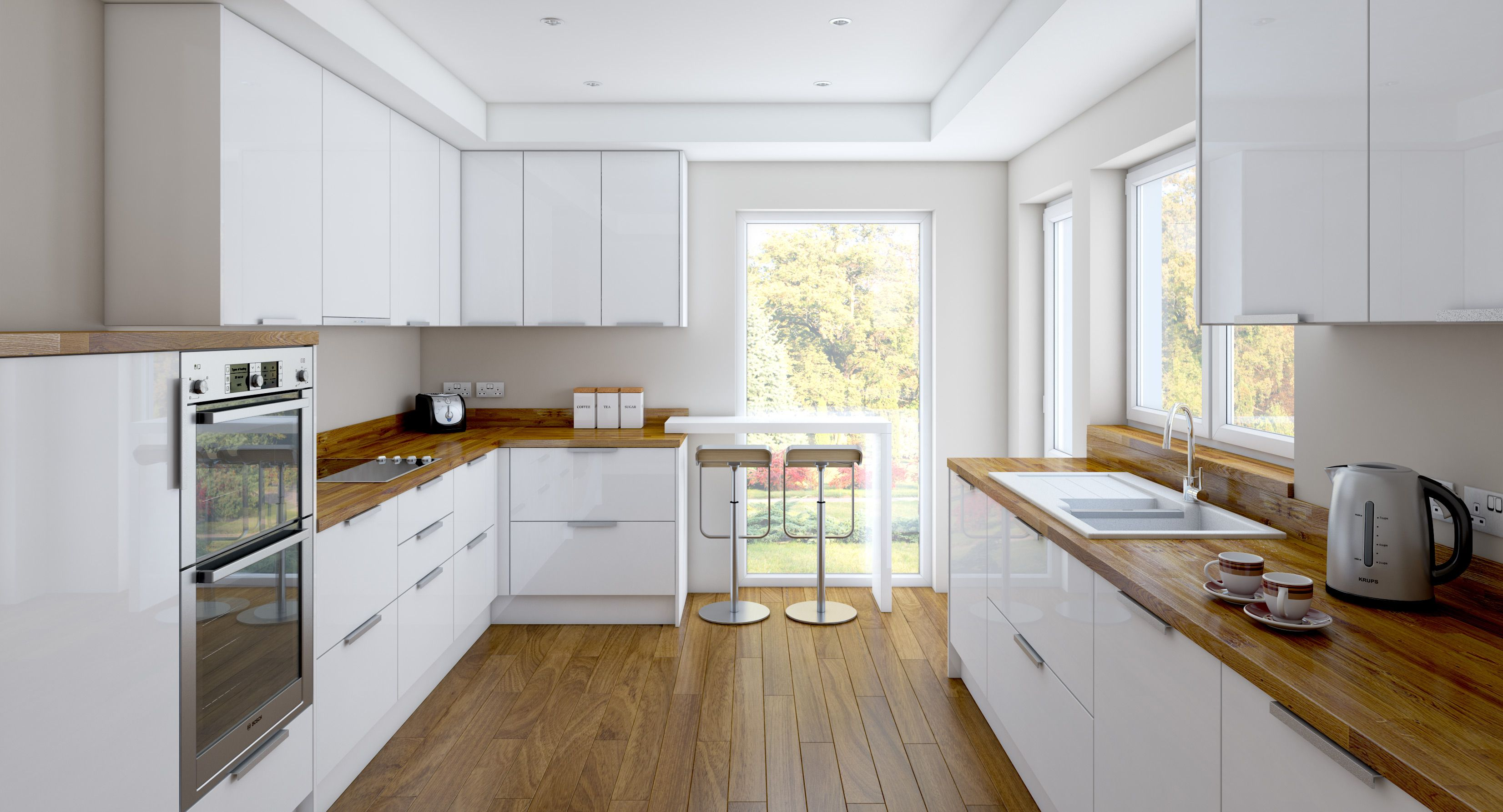 Oak Worktops And Floors Warm Up A White Gloss Kitchen But Not Enough More