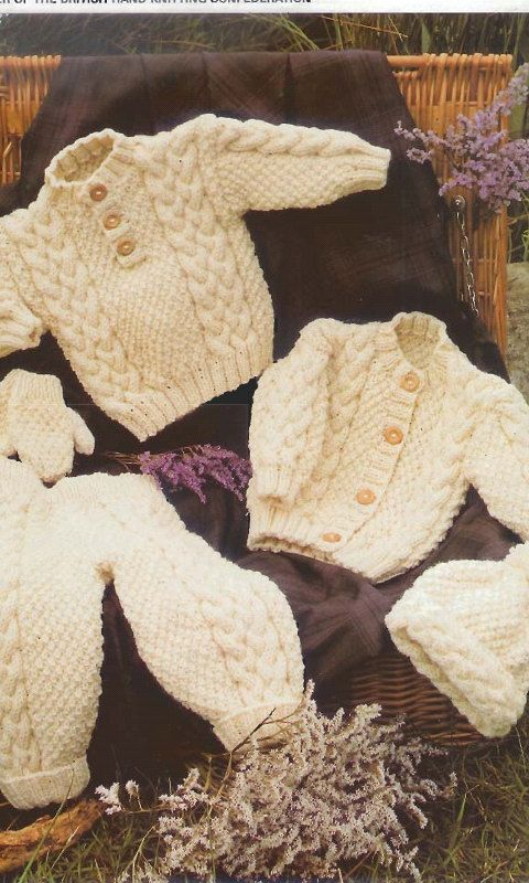 Baby Sweater, Jacket, Trousers, Hat, Mittens Knitting Pattern PDF ...