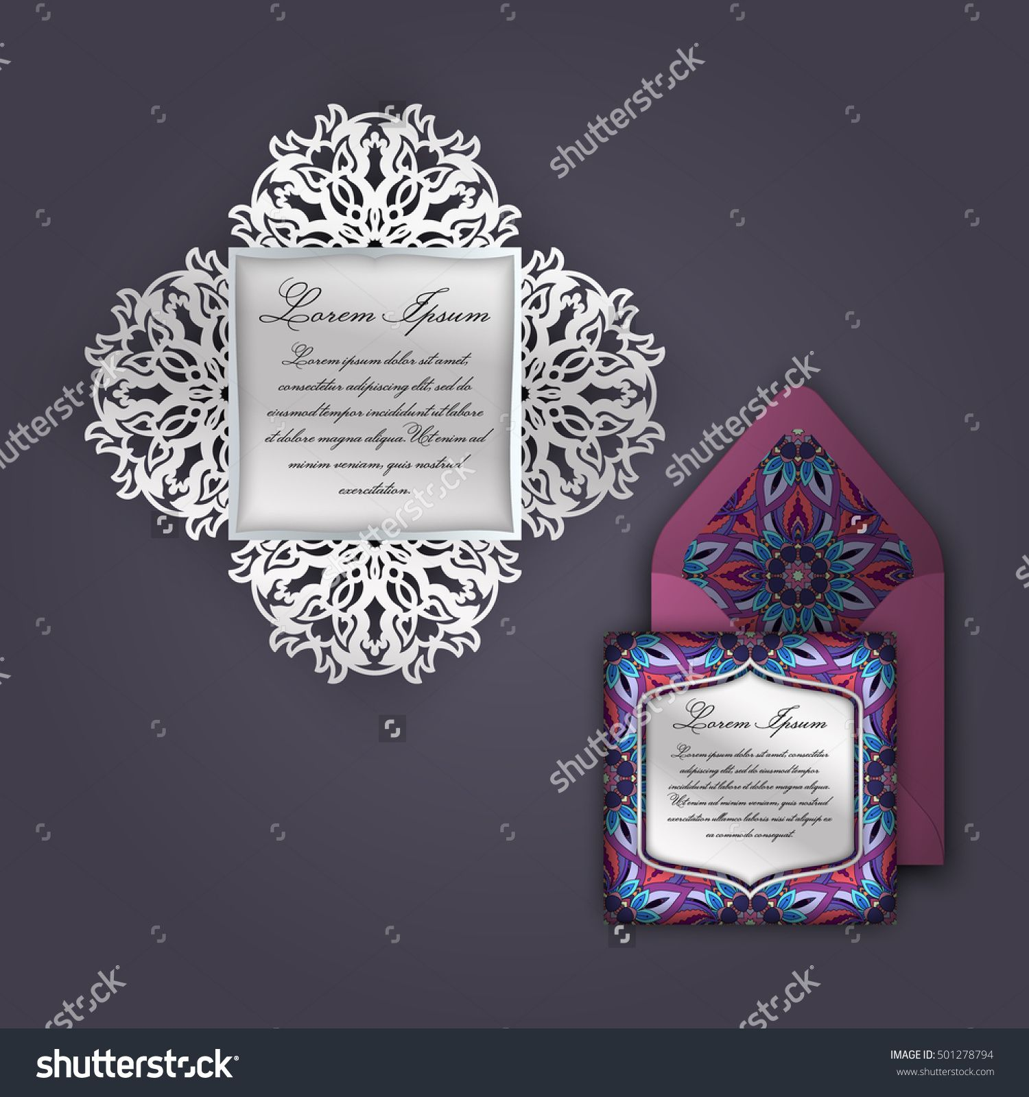 Wedding Invitation Or Greeting Card With Vintage Floral