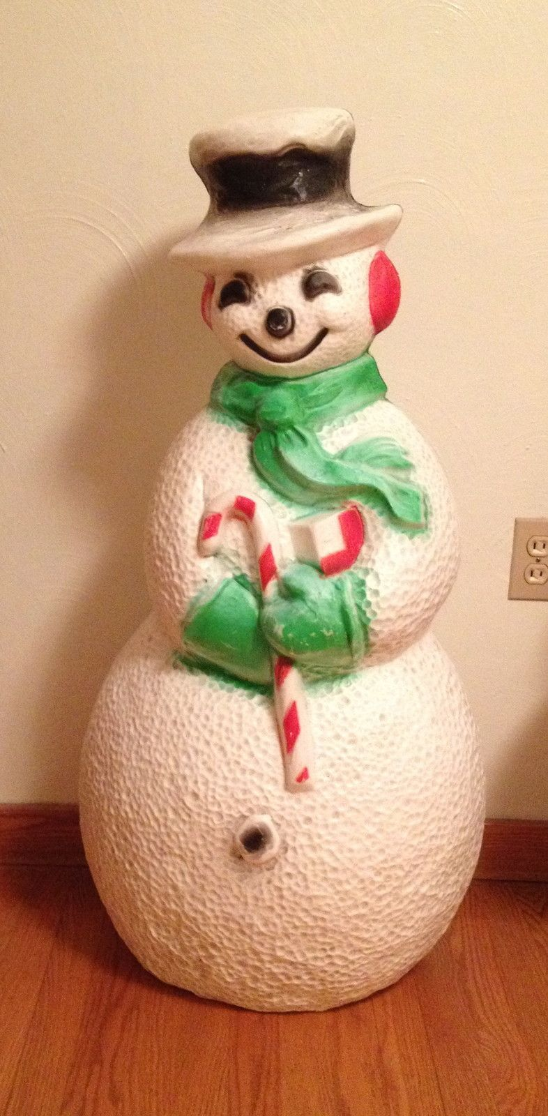 vintage christmas blow mold union snowman large light plastic lighted decoration ebay