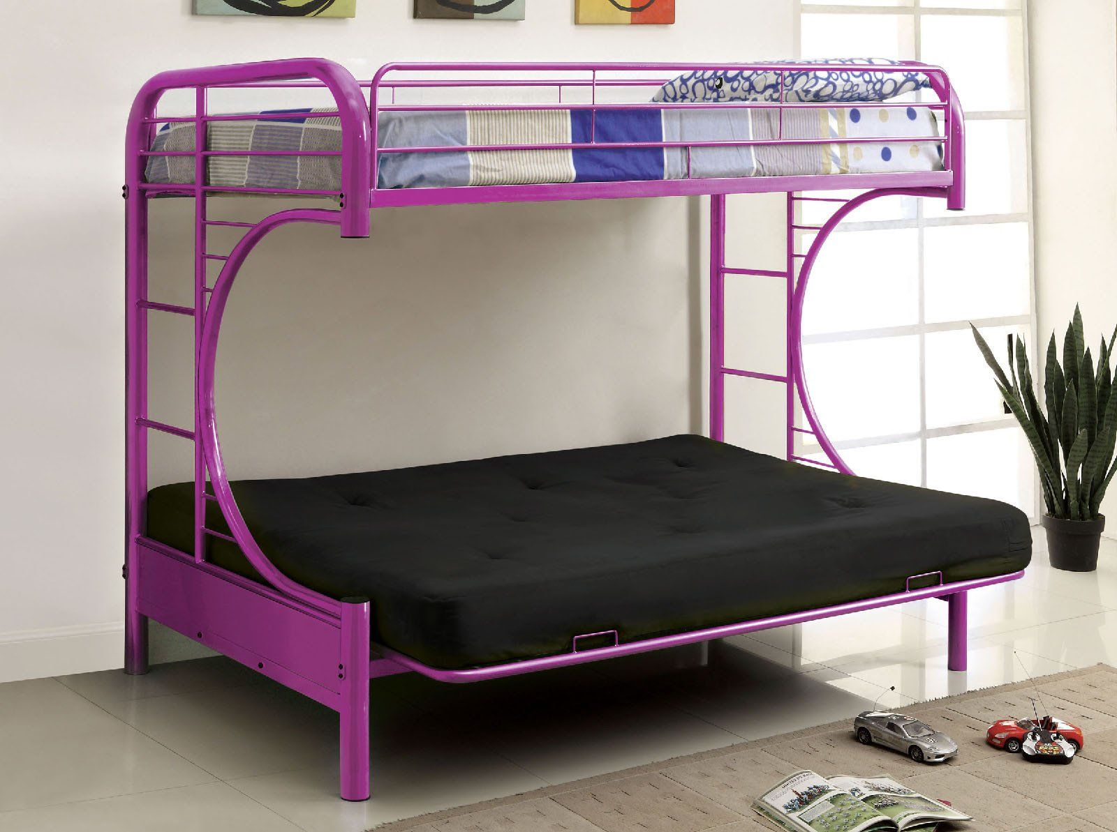 Twin loft bed dimensions  Rainbow Contemporary Twin Futon Bunk Beds  Futon bunk bed Bunk bed