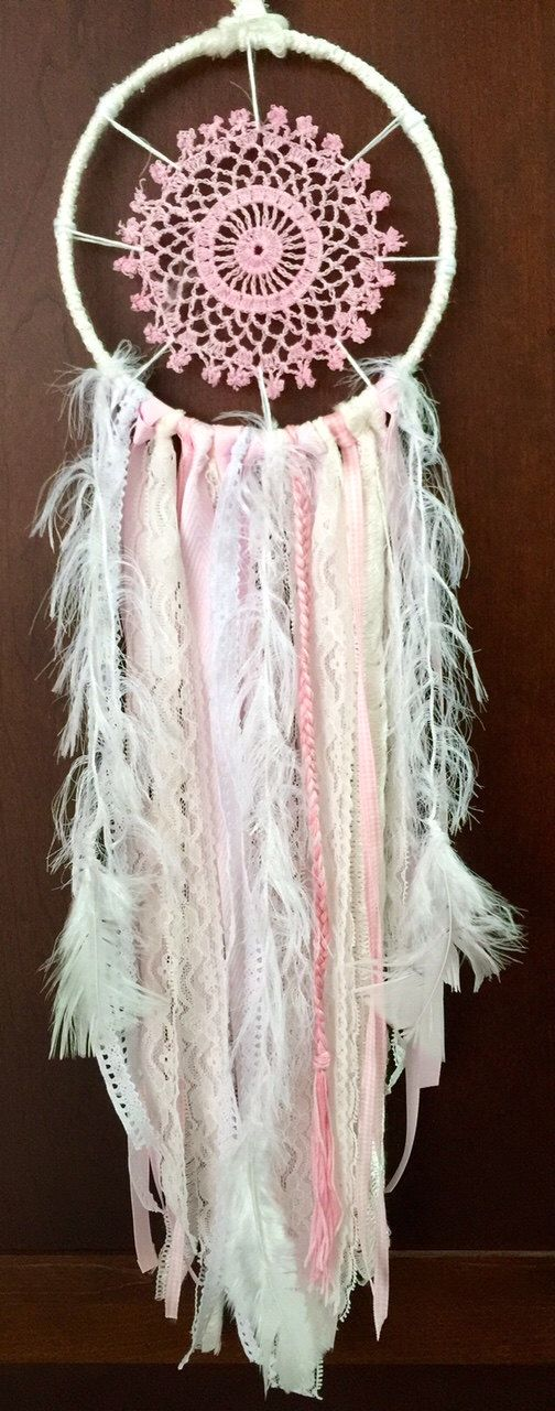 "Medium ""Baby Pink"" Dreamcatcher by bohodreamscompany on Etsy https://www.etsy.com/listing/242776771/medium-baby-pink-dreamcatcher"