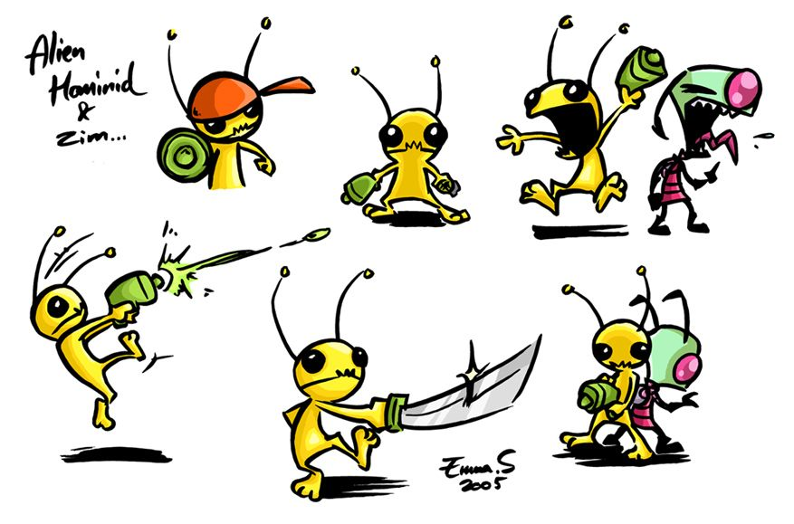 Alien Hominid By Zombidj On Deviantart Hominid Character Design Alien
