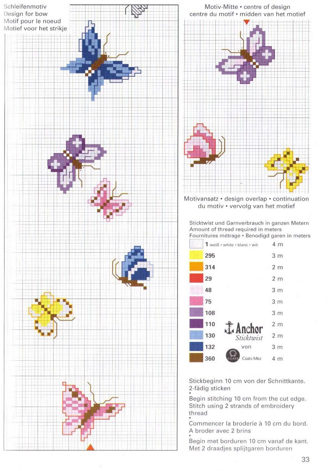 schema punto croce farfalle 25 cross stitch cross