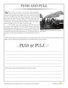 push pull immigration worksheets geography and homeschool. Black Bedroom Furniture Sets. Home Design Ideas