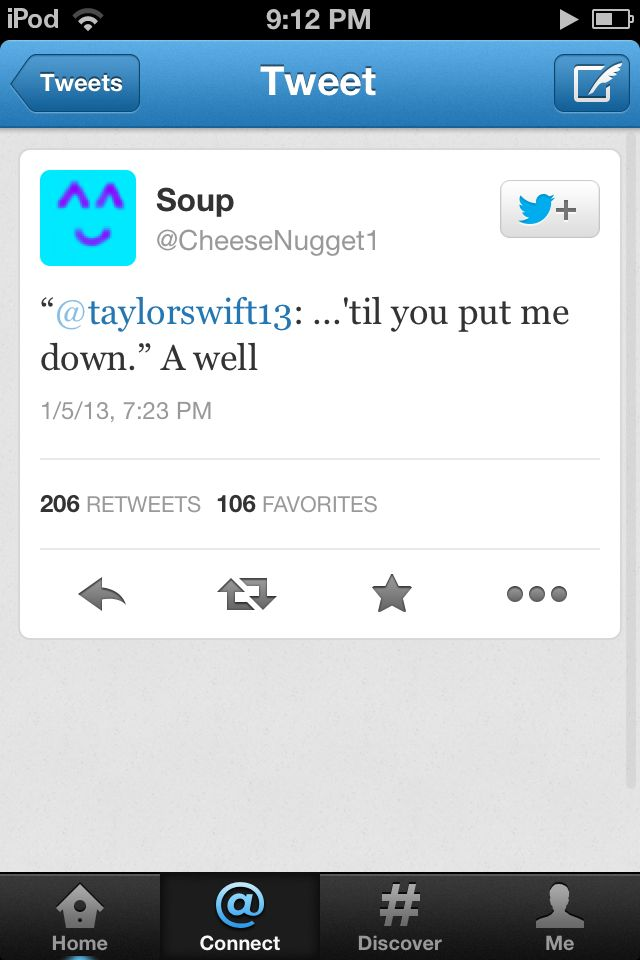 So this is a fan. Taylor tweeted that and the fan responded as to say to push her down a well.