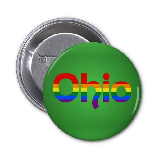 LGBT Ohio Rainbow text Button