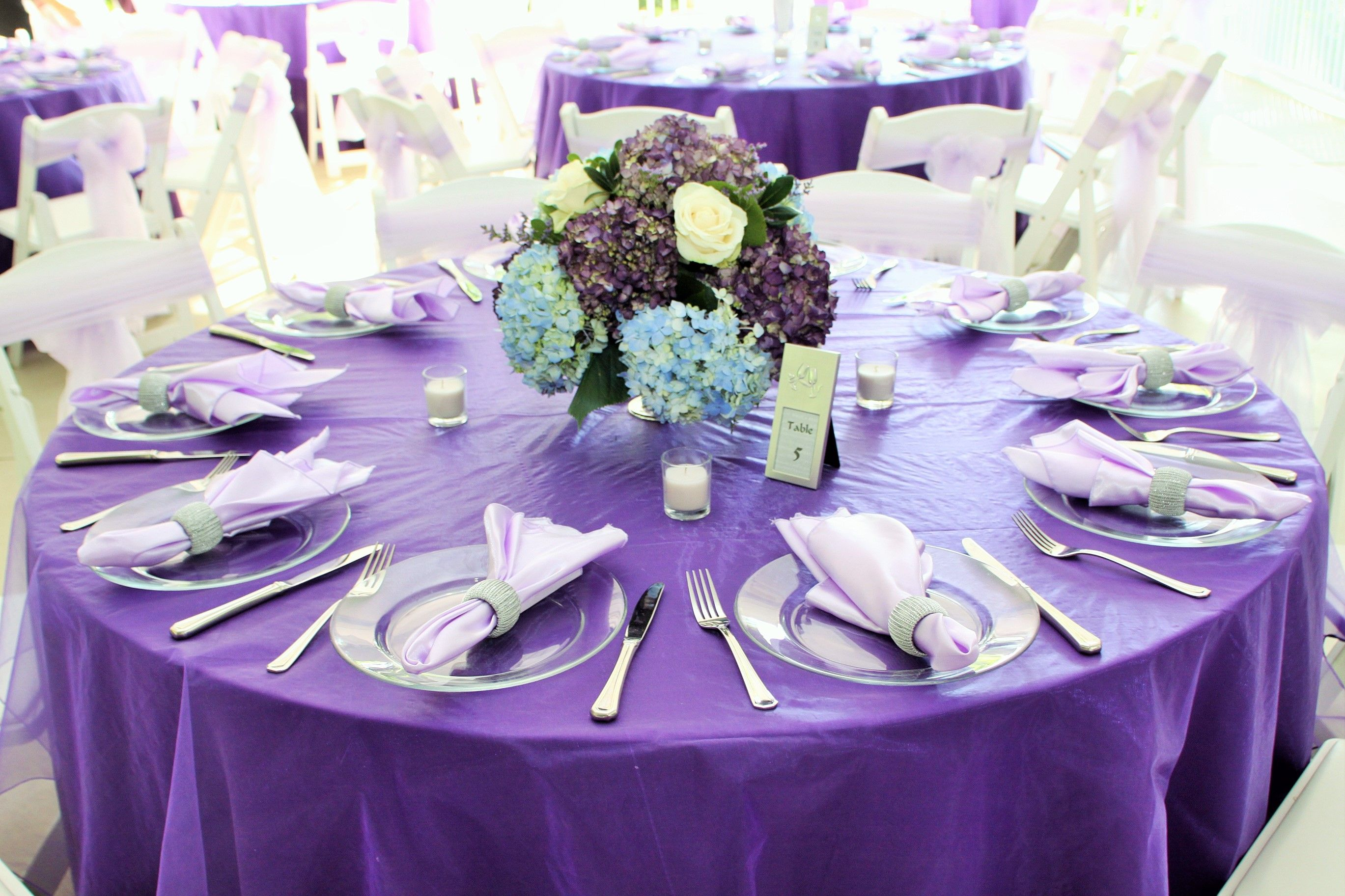 Wedding Decor  Lilac Linen and Light Blue and Purple Hydrangea Centerpiece  with White RosesWedding Decor  Lilac Linen and Light Blue and Purple Hydrangea  . Purple Tablecloths For Wedding. Home Design Ideas