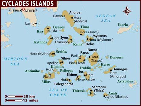 Greek Cyclades Griechische Inseln Karte Griechische Inseln Und