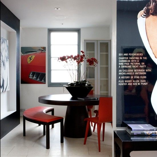 Black Red And White Dining Room Take A Tour Around Modern Bachelor Pad Housetohome Co Uk