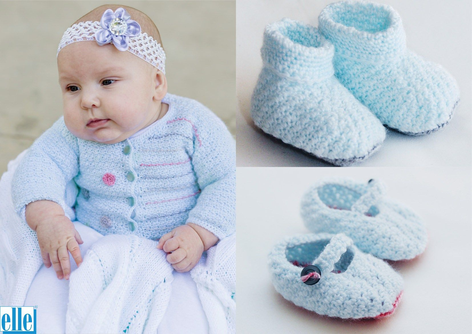 Cardigan & Bootees/Shoes  Brand: Elle Count: 4ply Yarn: Babykins Size From: Birth Size To: 24 months