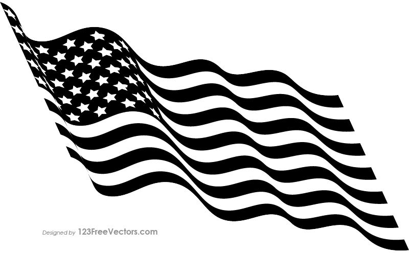 Black And White Waving American Flag Black And White American Flag Black