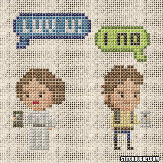 Han Solo and Princess Leia Texting Star Wars Cross Stitch Pattern ...