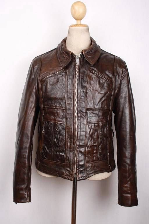 Vtg 70s Lesco Leathers Fitted Half Belt Motorcycle Jacket Medium