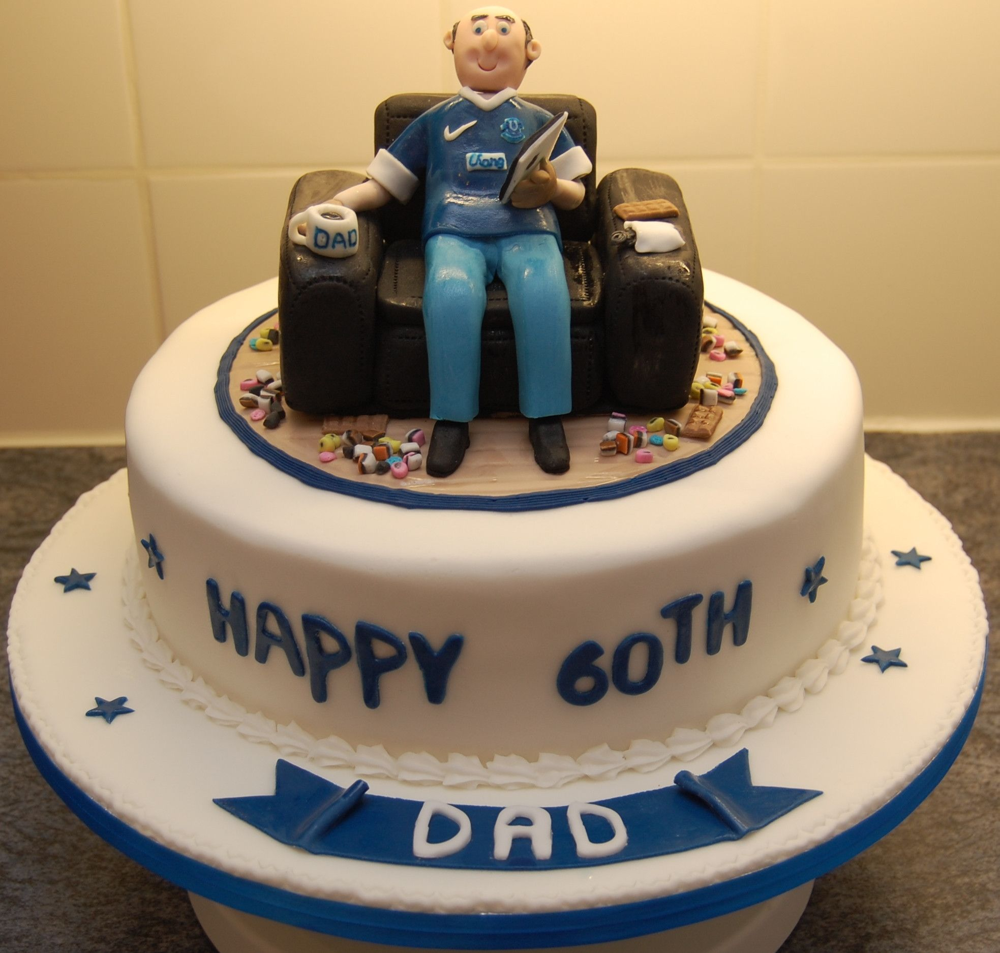 60th Birthday Cake Everton Fan Sat In An Armchair 2 With Images