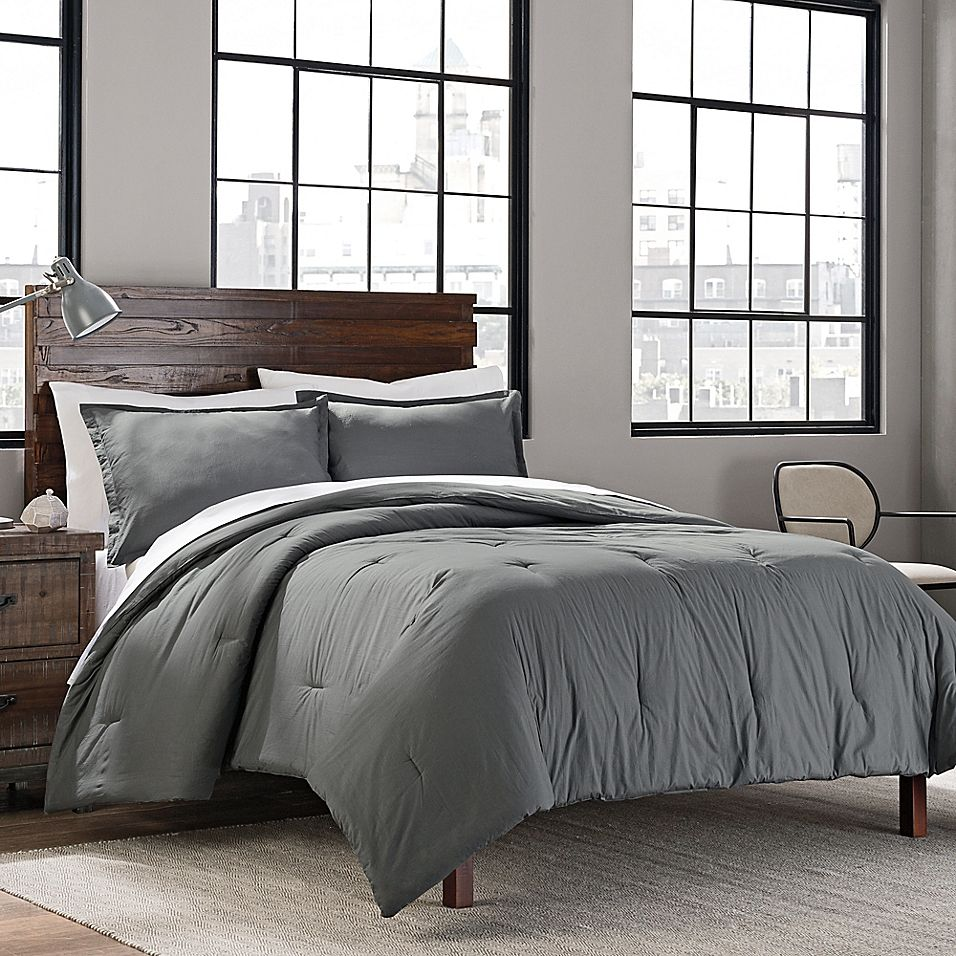 Garment Washed Solid Twin Twin Xl Comforter Set In Grey
