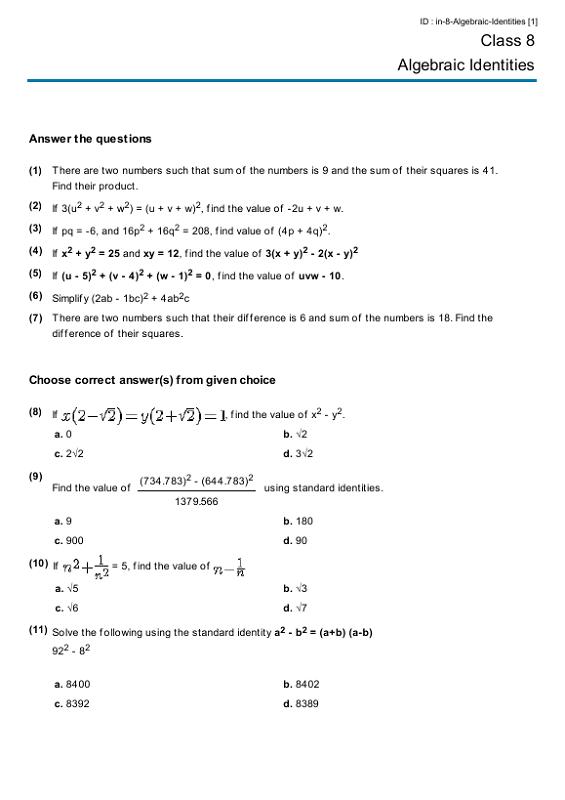 Printable Year 8 Math Worksheets Algebraic Identities K5