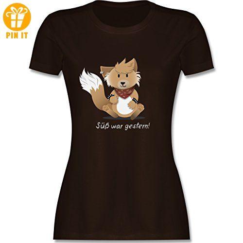 Sonstige Tiere - Süß war gestern - M - Braun - - tailliertes Premium T-Shirt  mit Rundhalsausschnitt für Damen - T-Shirts mit Spruch