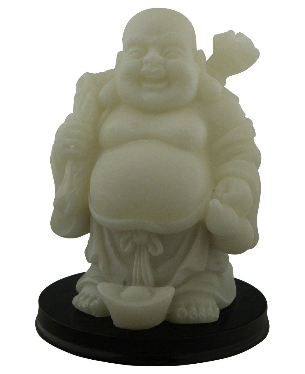 Happy buddha statue made of resin with opaque white finish glows glow in the dark happy buddha statue buycottarizona