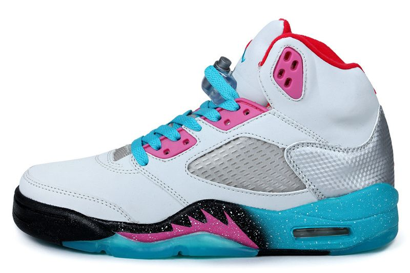 d544d0338786 Air Jordan 5 Retro Miami Vice Custom Wolf Grey Pink Flash Mint Candy New  Green Basketball