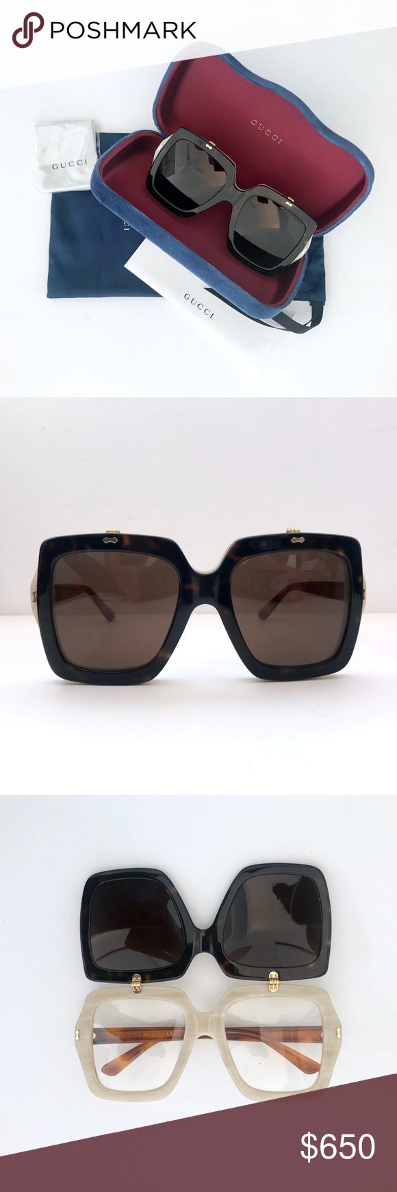 ed24ab82a5 GUCCI Flip Up GG 0088S Havana Sunglasses Oversized Sold out and hard to  find GUCCI Flip