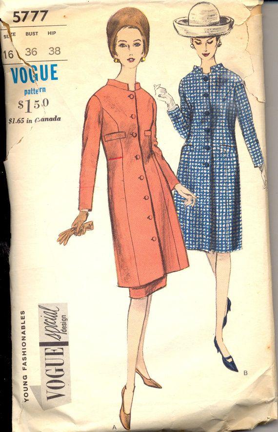 Vintage 1960 S Womens Suit Pattern Vogue 5777 Sewing Pattern Size